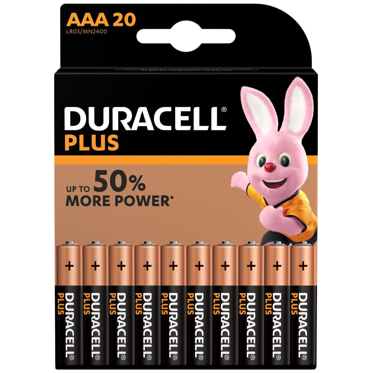 Duracell Plus Power AAA Batteries - 20 Pack