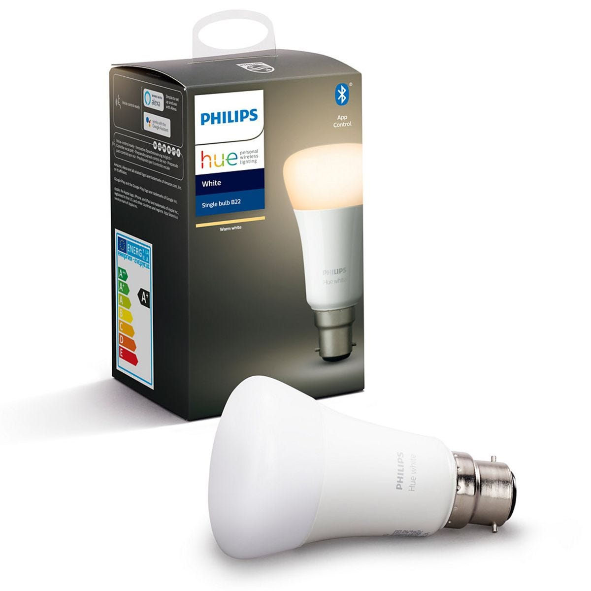 Philips Hue Smart Wi-Fi Dimmable White B22 60W Bluetooth Light Bulb