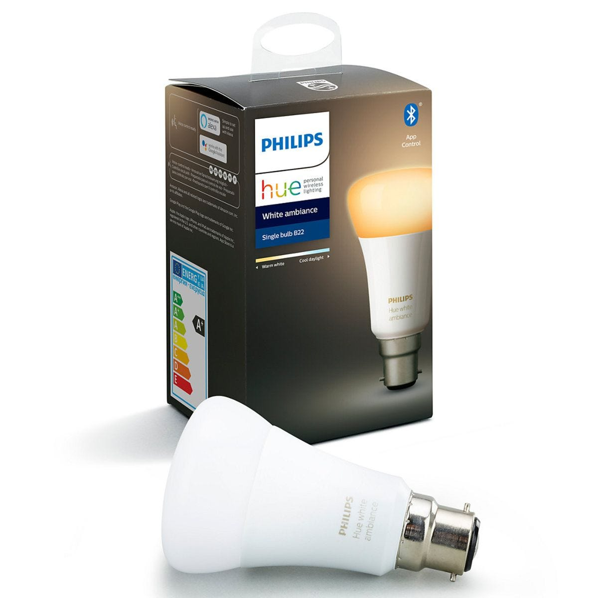 Philips Hue Smart Wi-Fi Dimmable White Ambience B22 60W Bluetooth Light Bulb