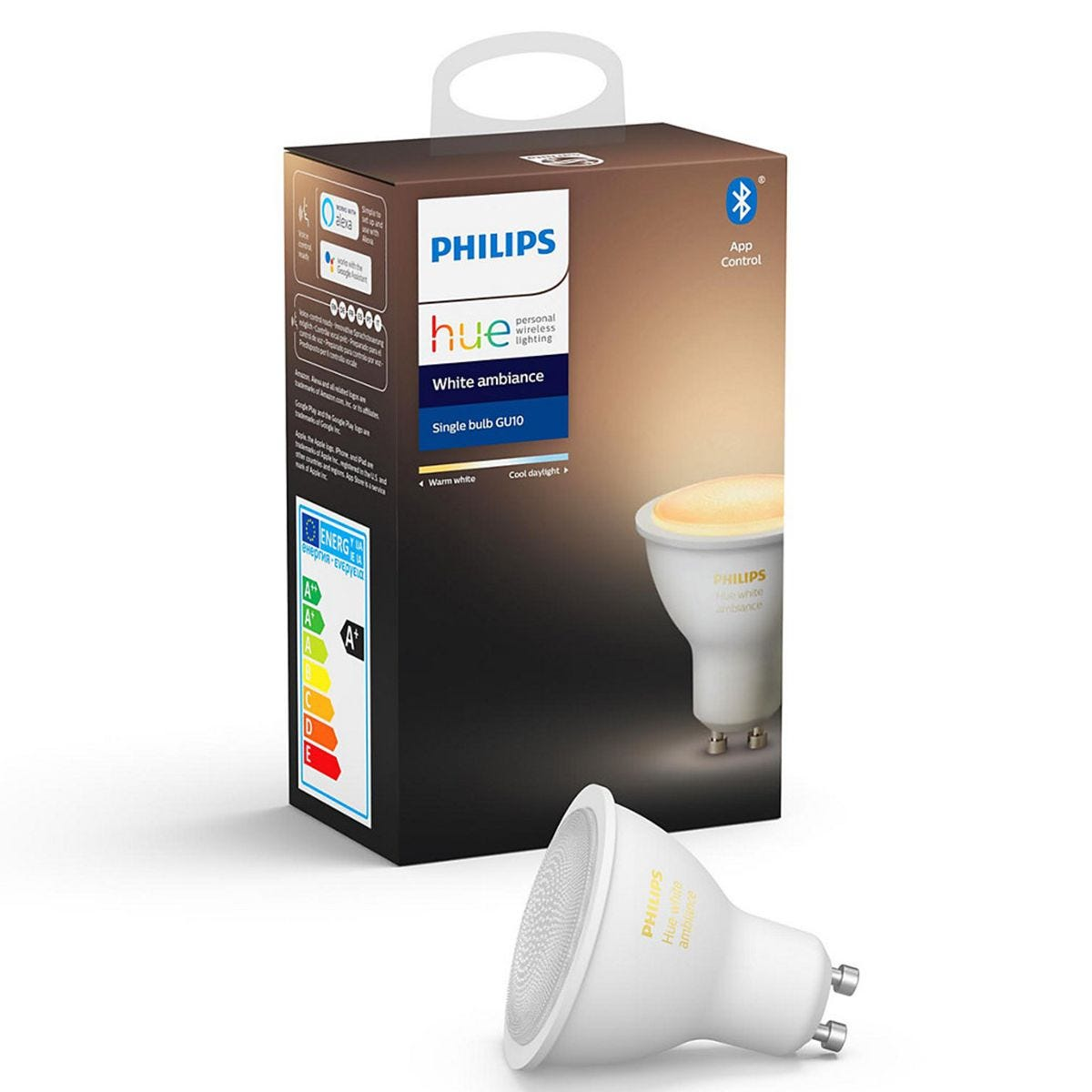 Philips Hue Smart Wi-Fi Dimmable White Ambiance GU10 25W Bluetooth Lightbulb