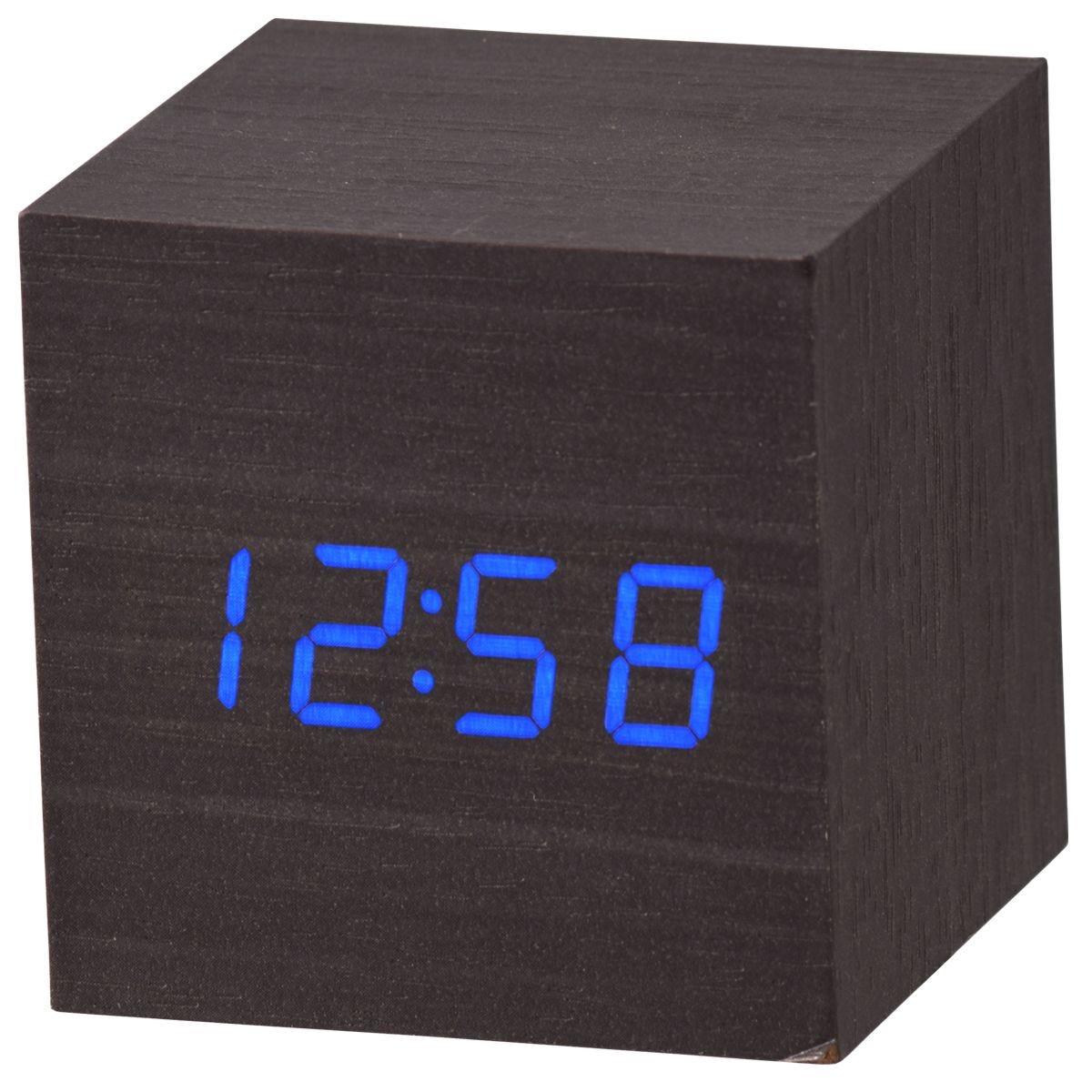 Acctim 'Ark' Cube LED Alarm Clock - Black Wood