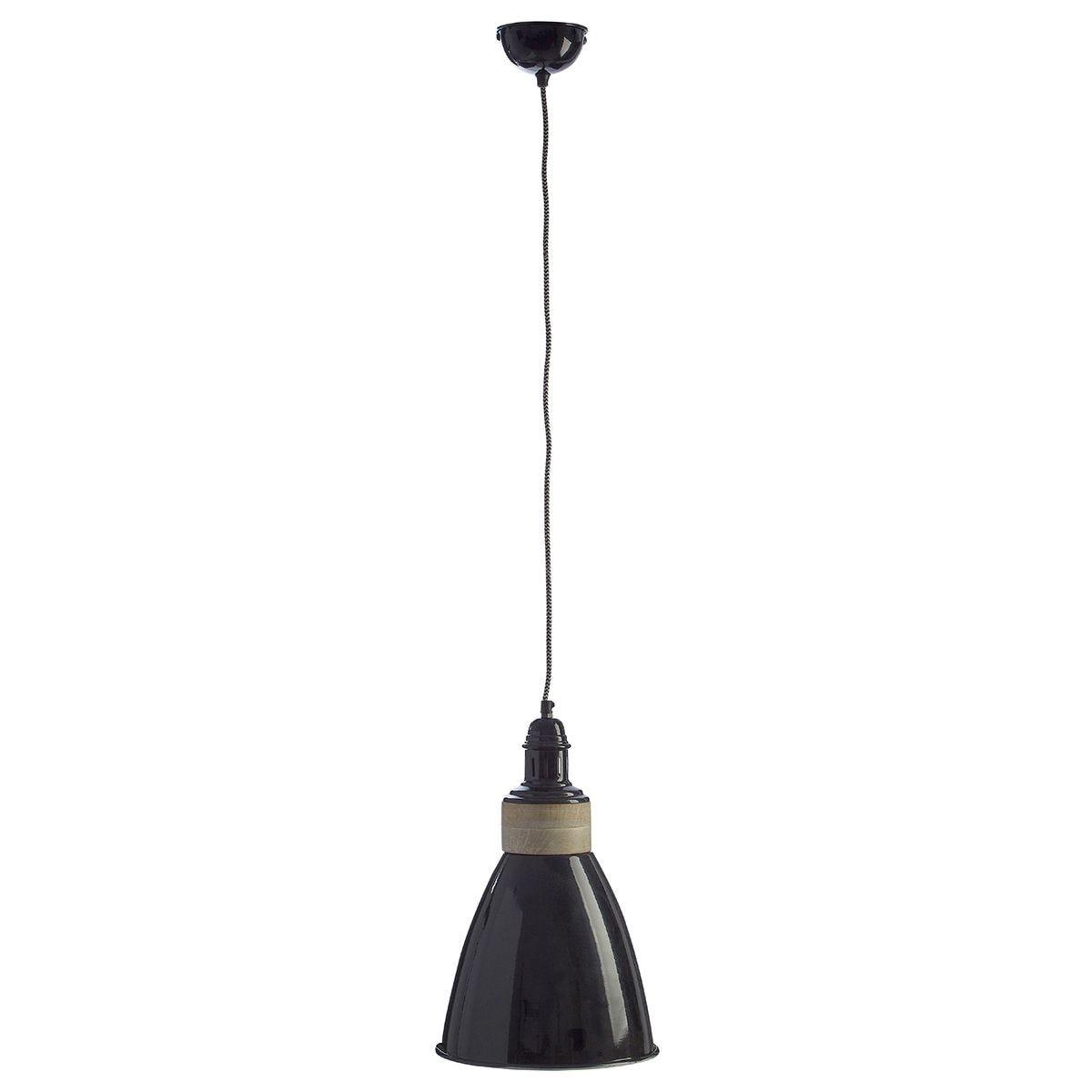 Premier Housewares Oslo Pendant Light in Iron/Wood - Black