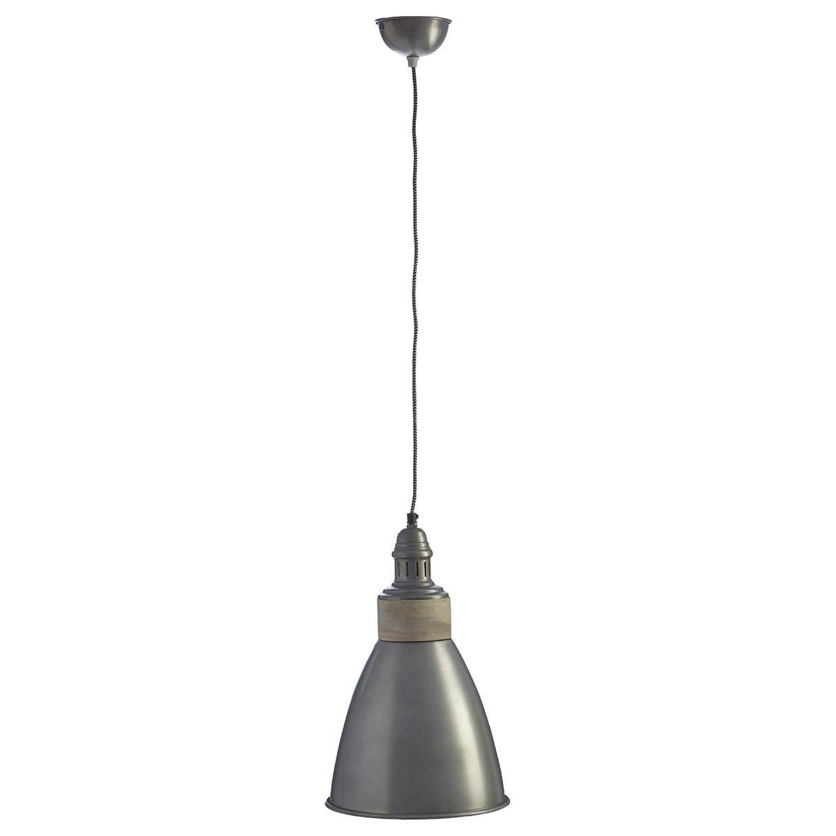 Premier Housewares Oslo Pendant Light in Iron/Wood - Zinc Finish