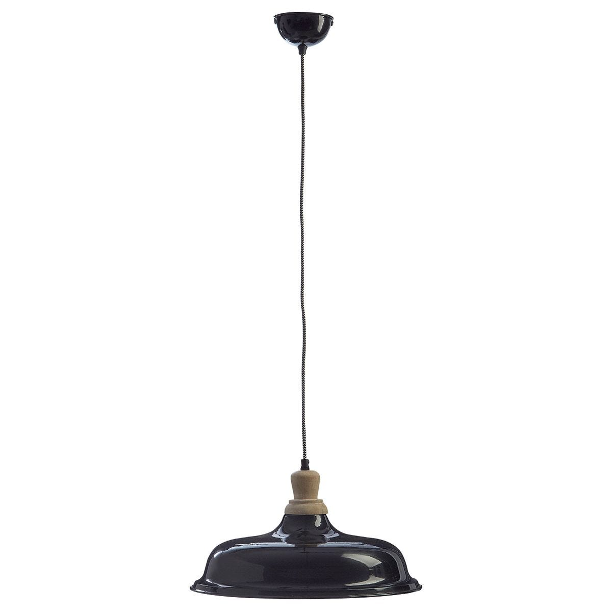 Premier Housewares Oslo Small Pendant Light in Iron/Wood - Black