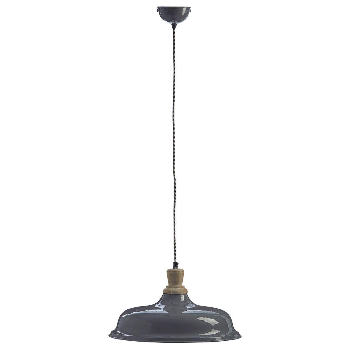 Premier Housewares Oslo Small Pendant Light in Iron/Wood - Grey