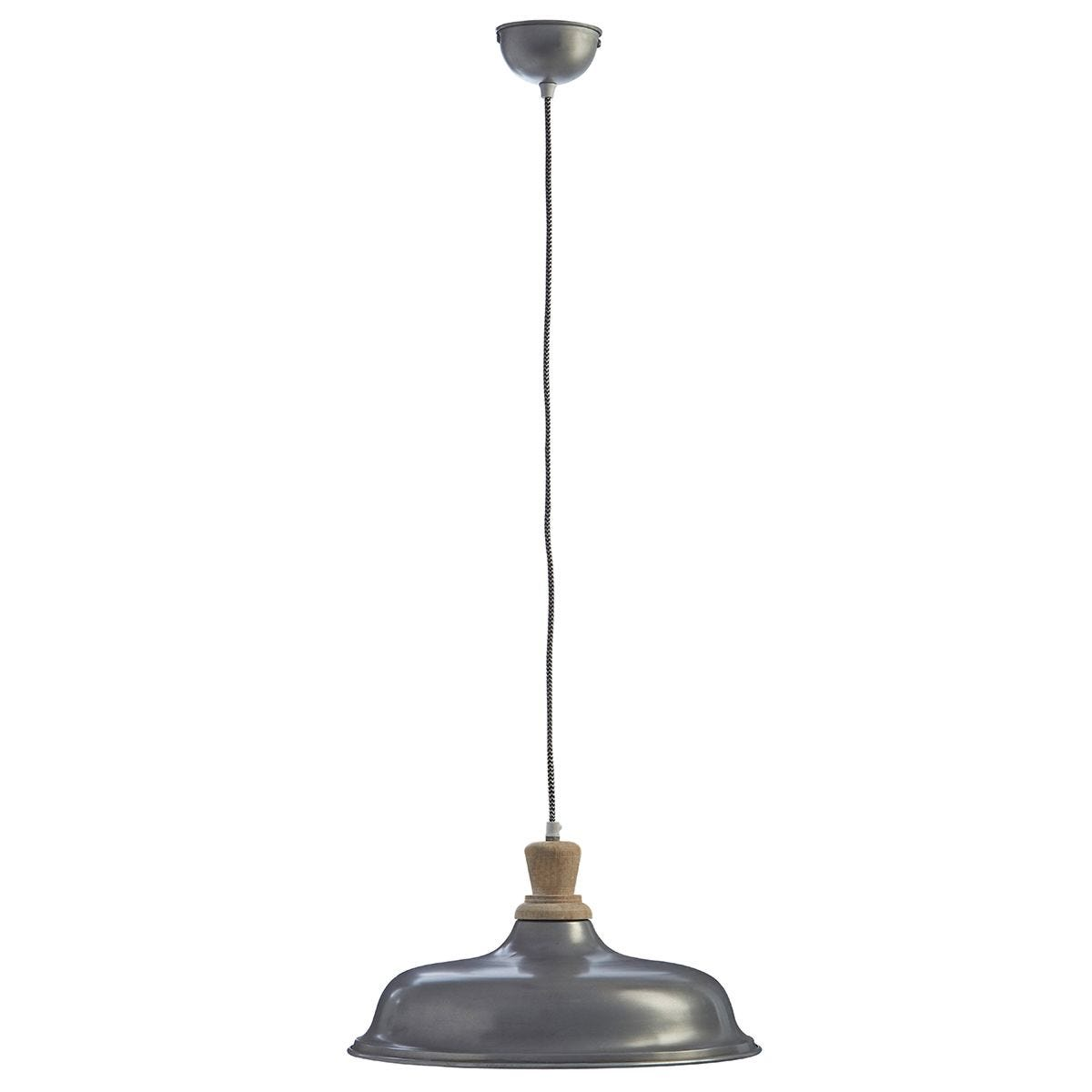Premier Housewares Oslo Small Pendant Light in Iron/Wood - Zinc Finish