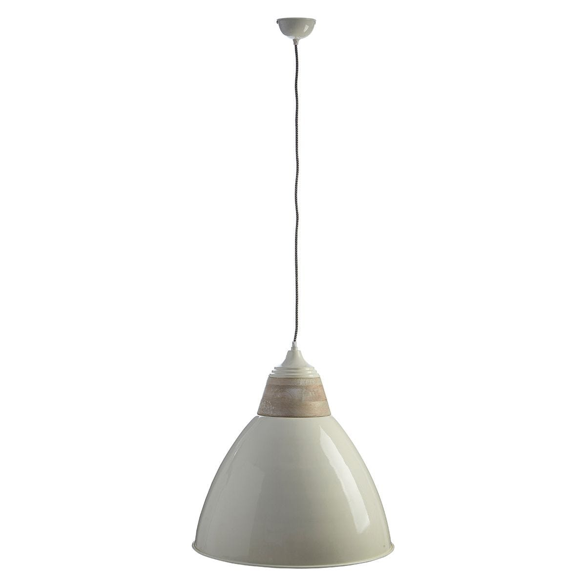 Premier Housewares Oslo Extra Large Pendant Light in Iron/Wood - White