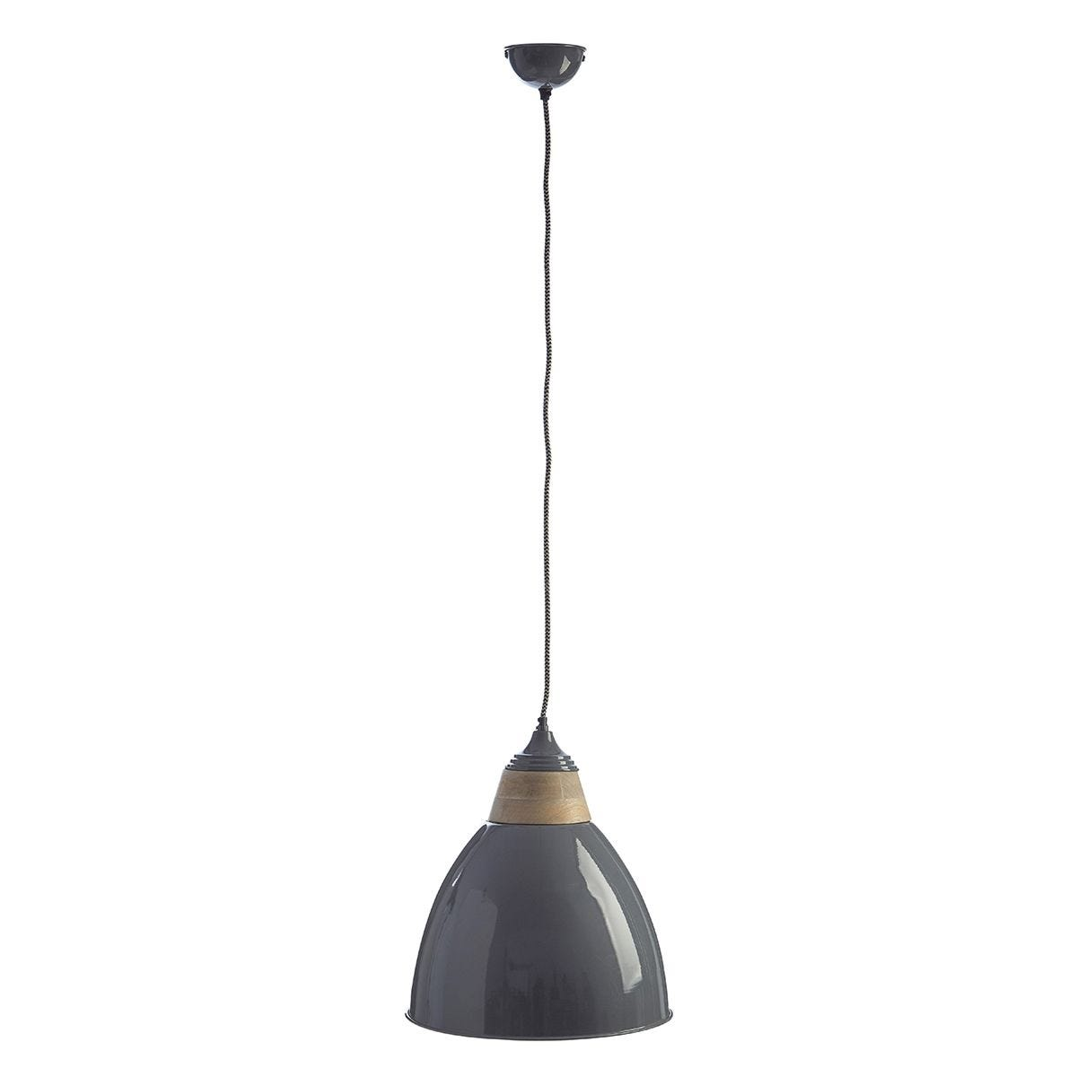 Premier Housewares Oslo Large Pendant Light in Iron/Wood - Grey