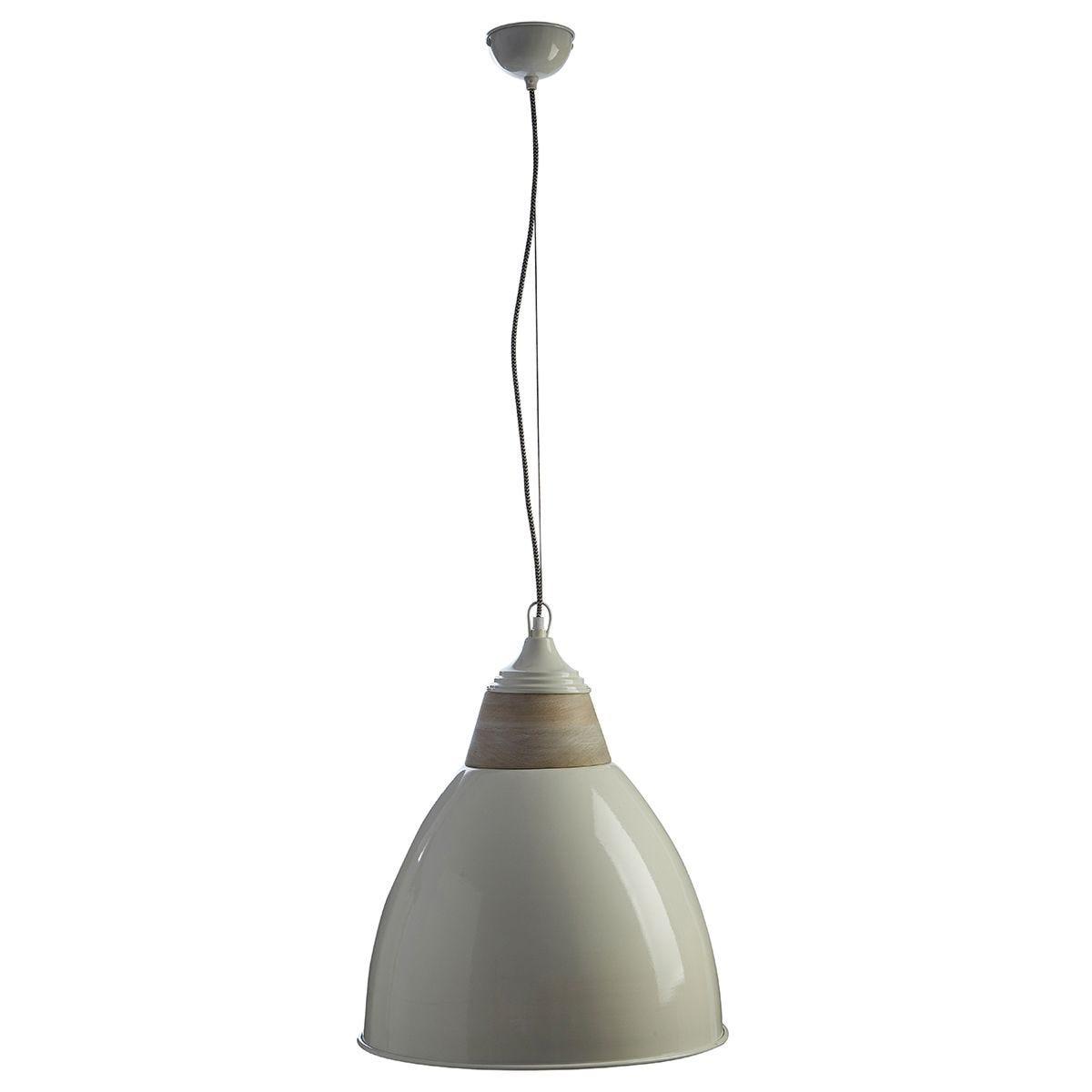 Premier Housewares Oslo Large Pendant Light in Iron/Wood - White