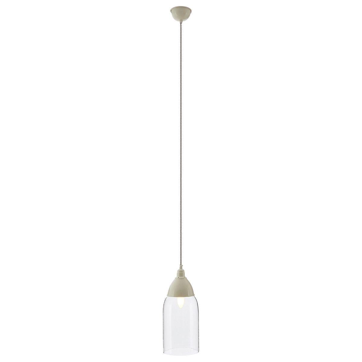 Premier Housewares Oslo Pendant Light in Glass/Iron - White
