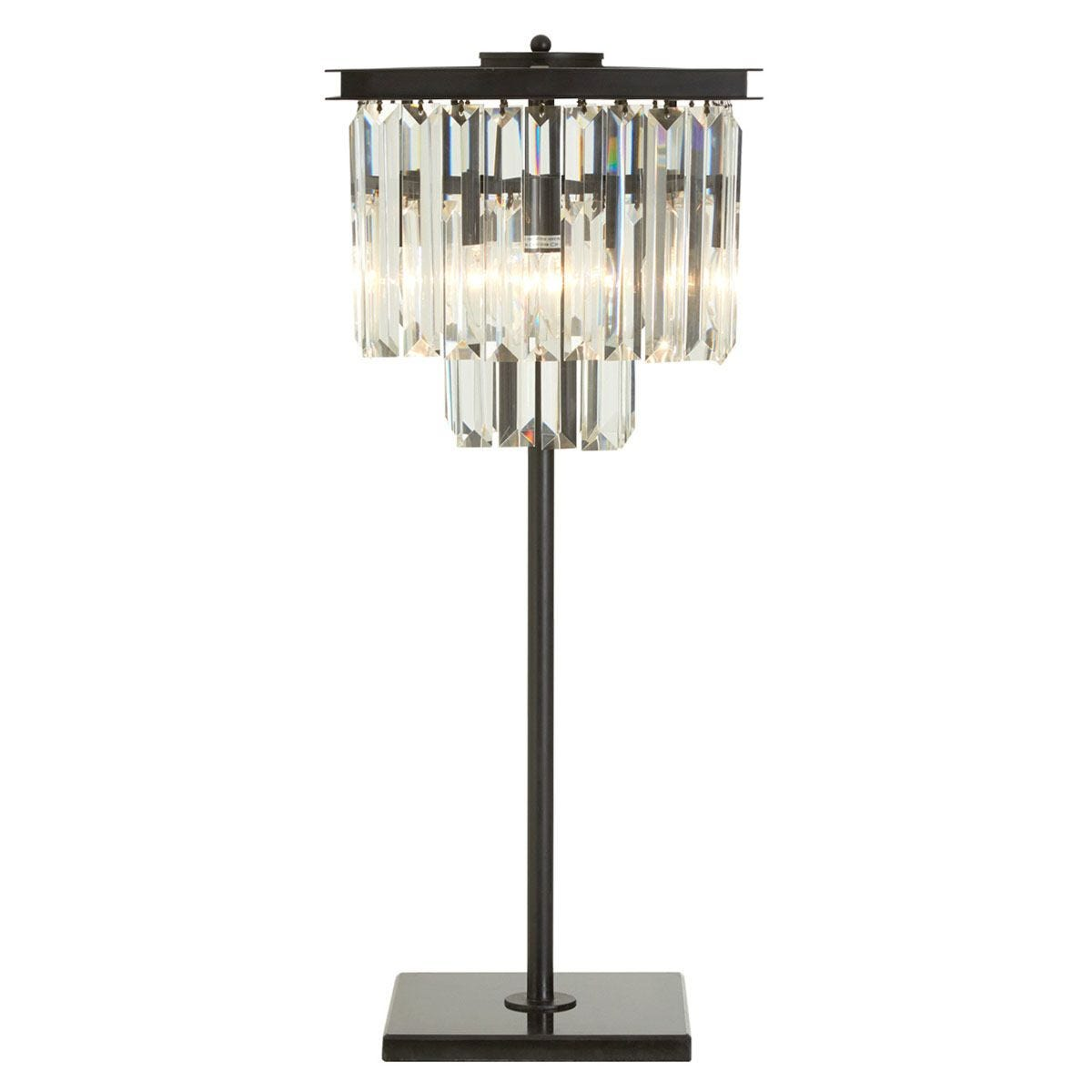 Premier Housewares Kensington Townhouse Table Lamp in Iron with Crystals - Antique Black Finish