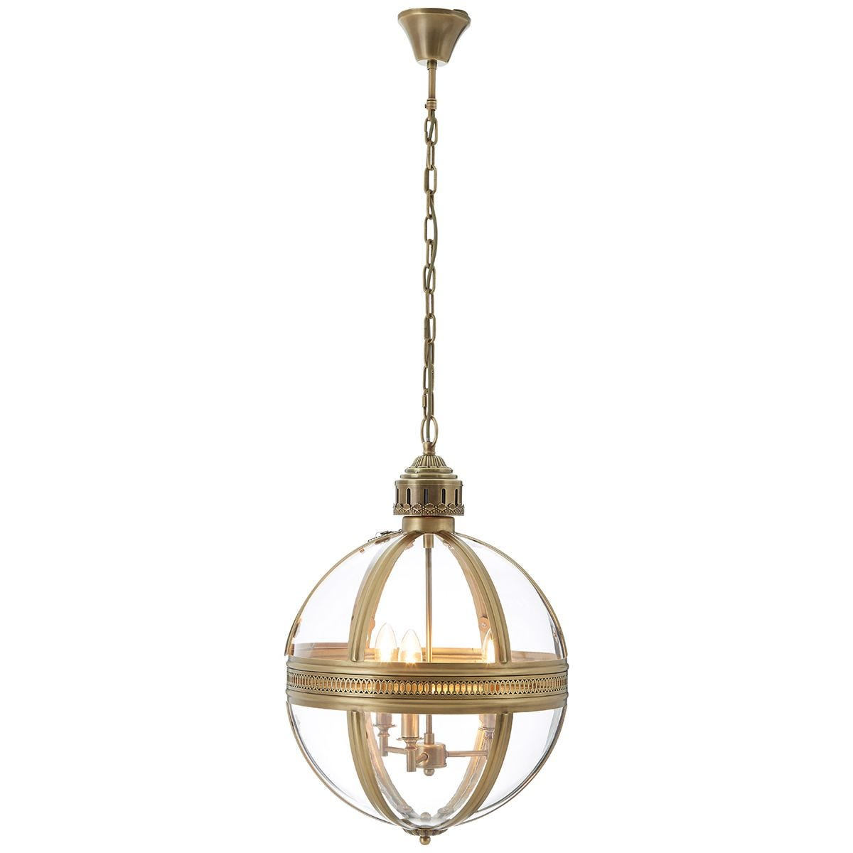 Premier Housewares Hampstead Pendant Light in Iron/Glass - Brass Finish