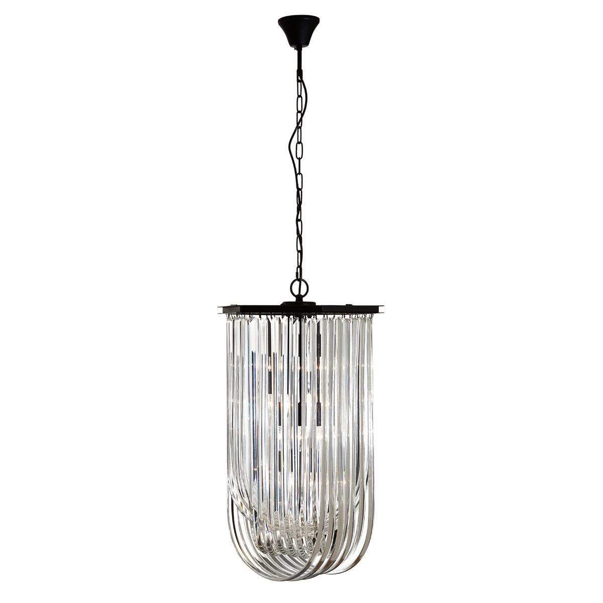 Premier Housewares Kensington Townhouse Pendant Light in Iron with Crystals - Antique Black Finish