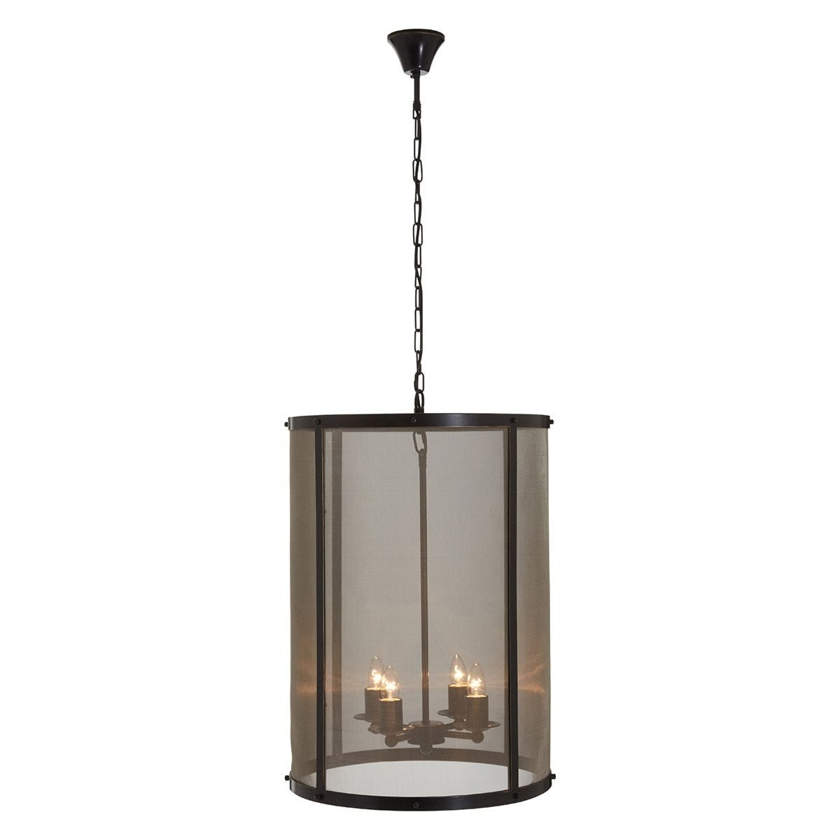 Premier Housewares Hampstead Large Pendant Light in Iron with Gauze - Antique Black/Gold Finish