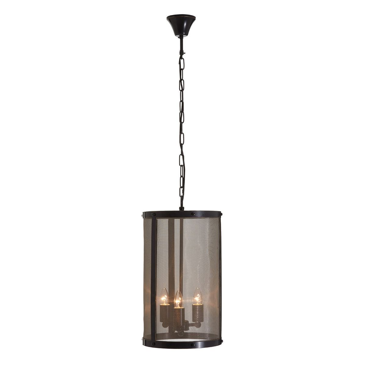 Premier Housewares Hampstead Small Pendant Light in Iron with Gauze - Antique Black/Gold Finish