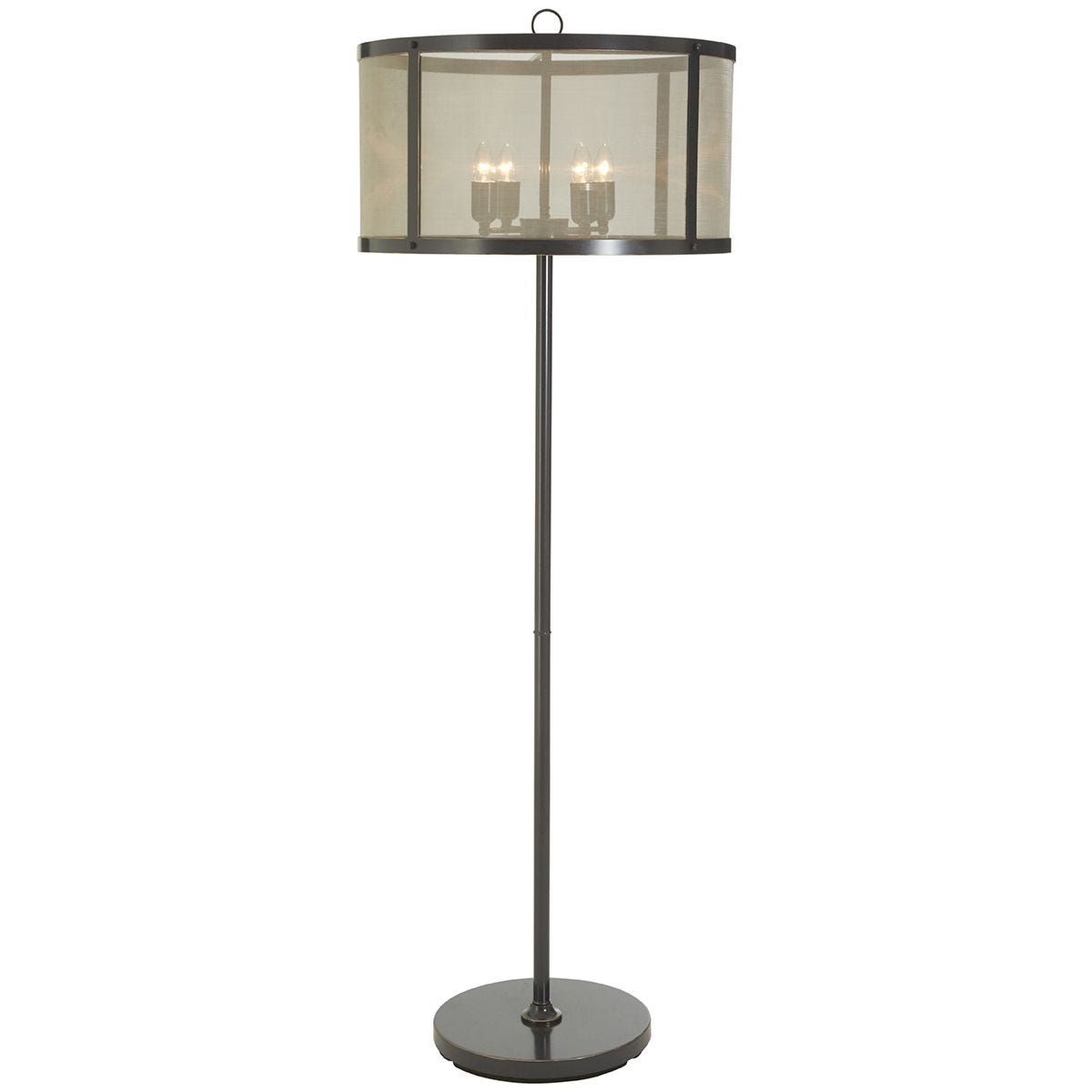 Premier Housewares Hampstead Wide Pendant Light in Iron with Gauze - Antique Black/Gold Finish