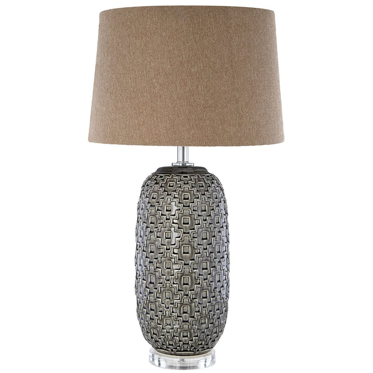 Premier Housewares Udele Table Lamp with Brown/Grey Shade