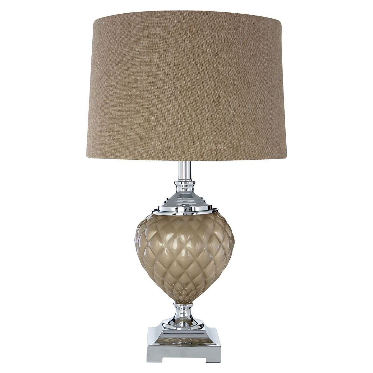 Premier Housewares Ulla Table Lamp with Mink Shade
