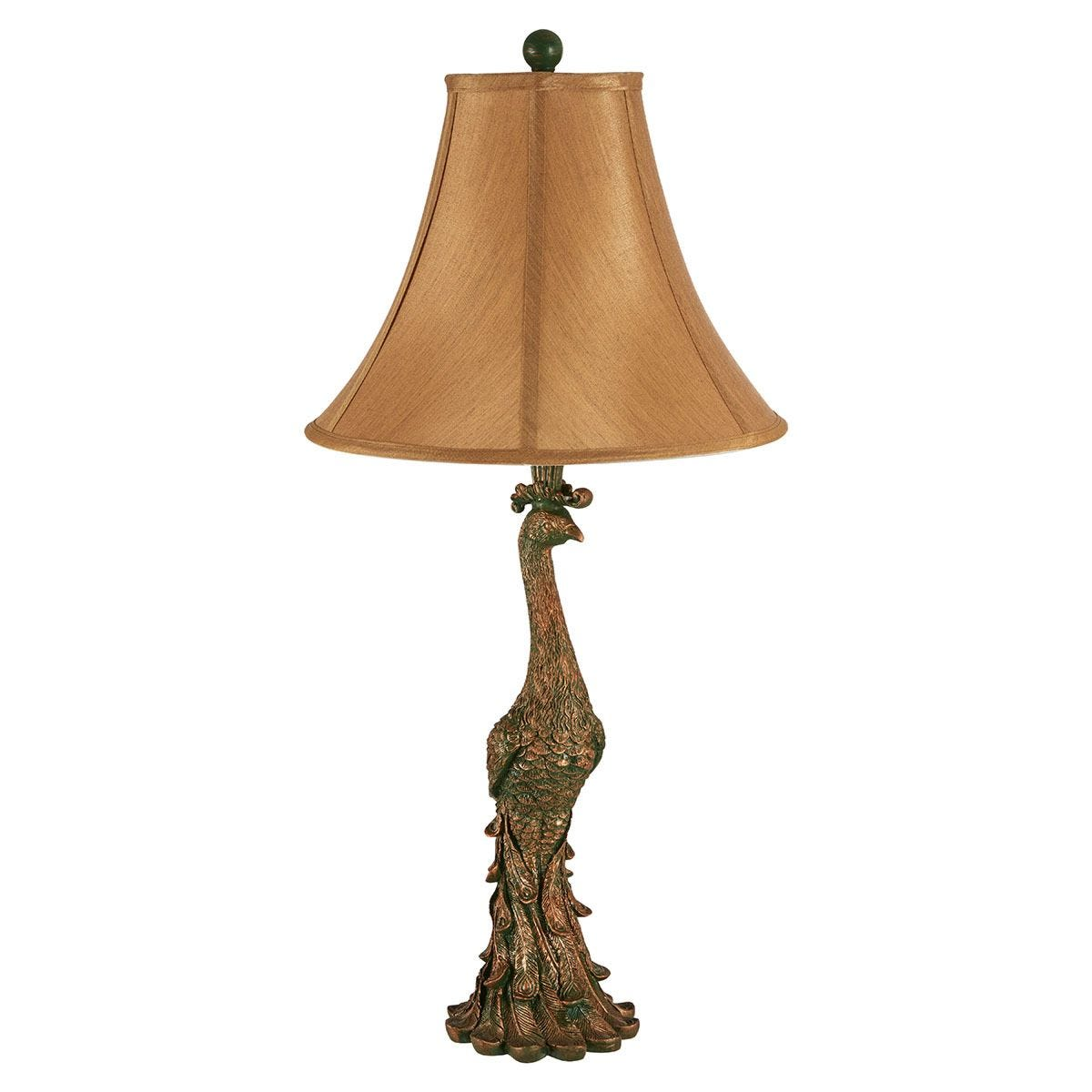 Premier Housewares Peacock Table Lamp in Bronze Finish with Beige Shade