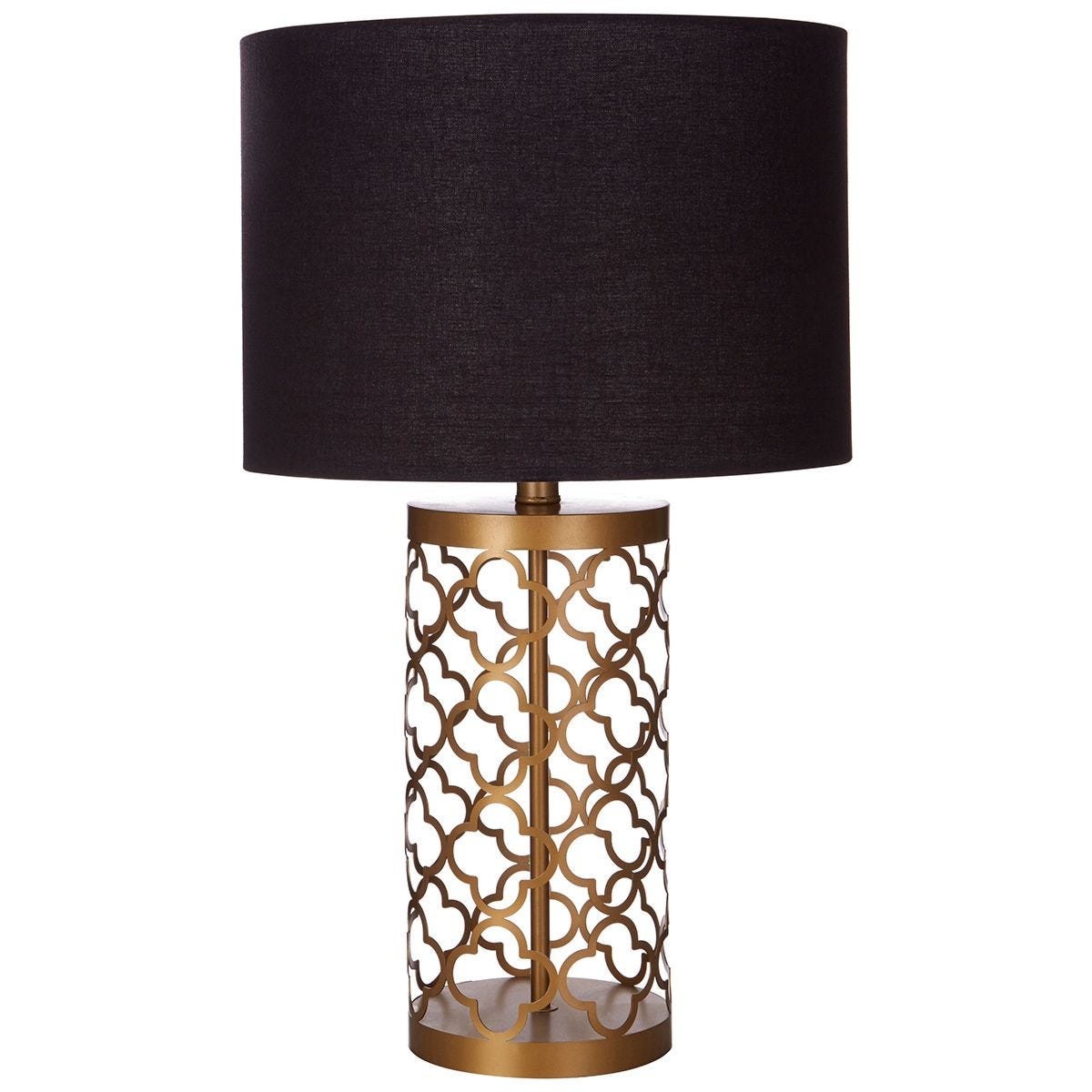 Premier Housewares Lexis Table Lamp with Copper Lattice Body & Black Shade