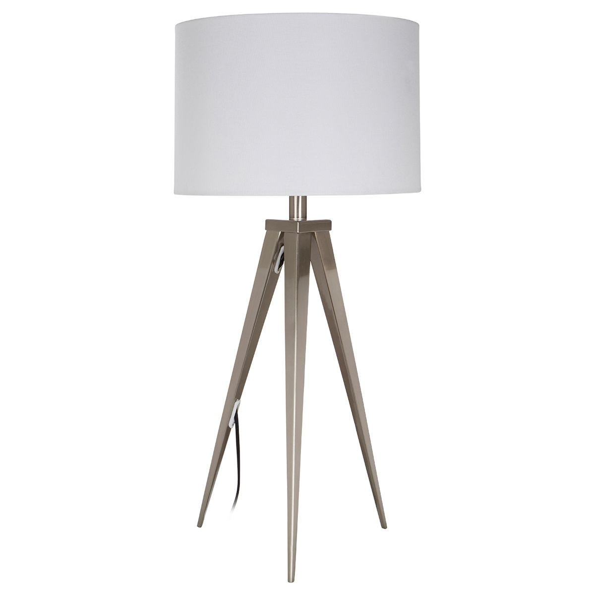 Premier Housewares Livia Table Lamp with Metal Tripod Frame & White Fabric Shade