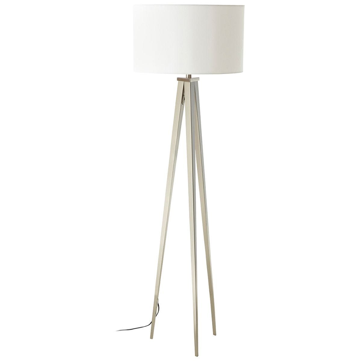 Premier Housewares Livia Floor Lamp with Metal Tripod Frame & White Fabric Shade