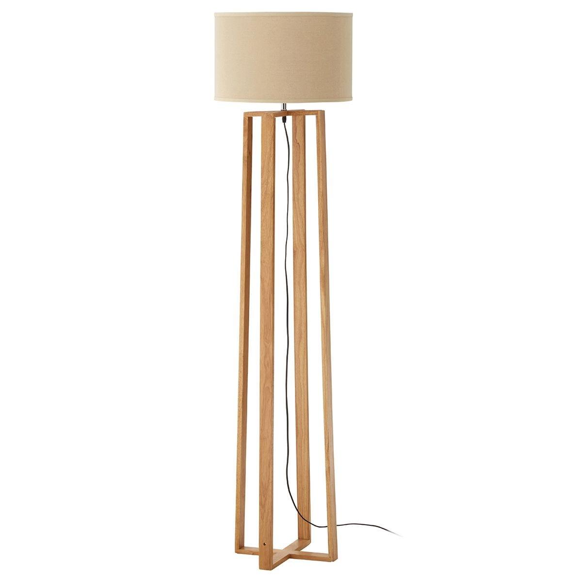 Premier Housewares Lea Wooden Floor Lamp with Brown Fabric Shade