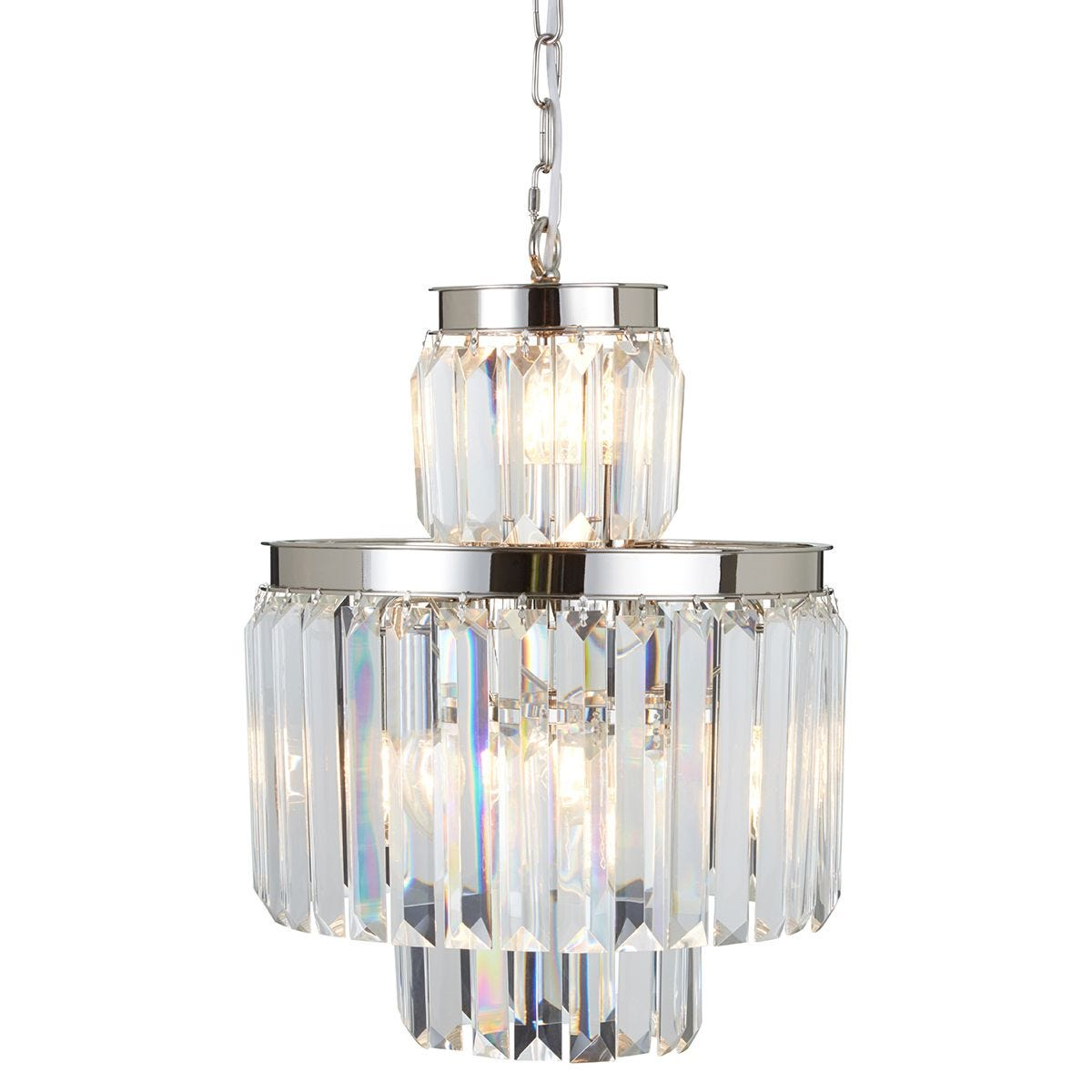 Premier Housewares Kensington Townhouse Pendant Light in Chrome with Crystals - 6 Bulbs