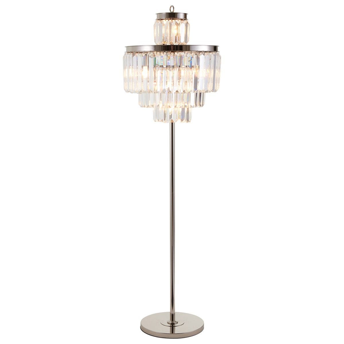 Premier Housewares Kensington Townhouse Pendant Floor Lamp in Chrome with Crystals - 10 Bulbs
