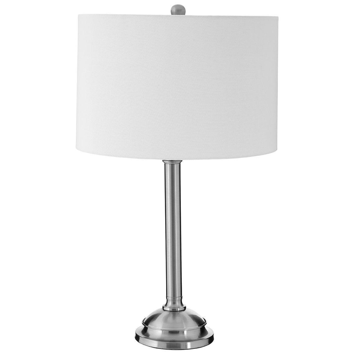 Premier Housewares Portobello Table Lamp with Metal Base & Cream Shade