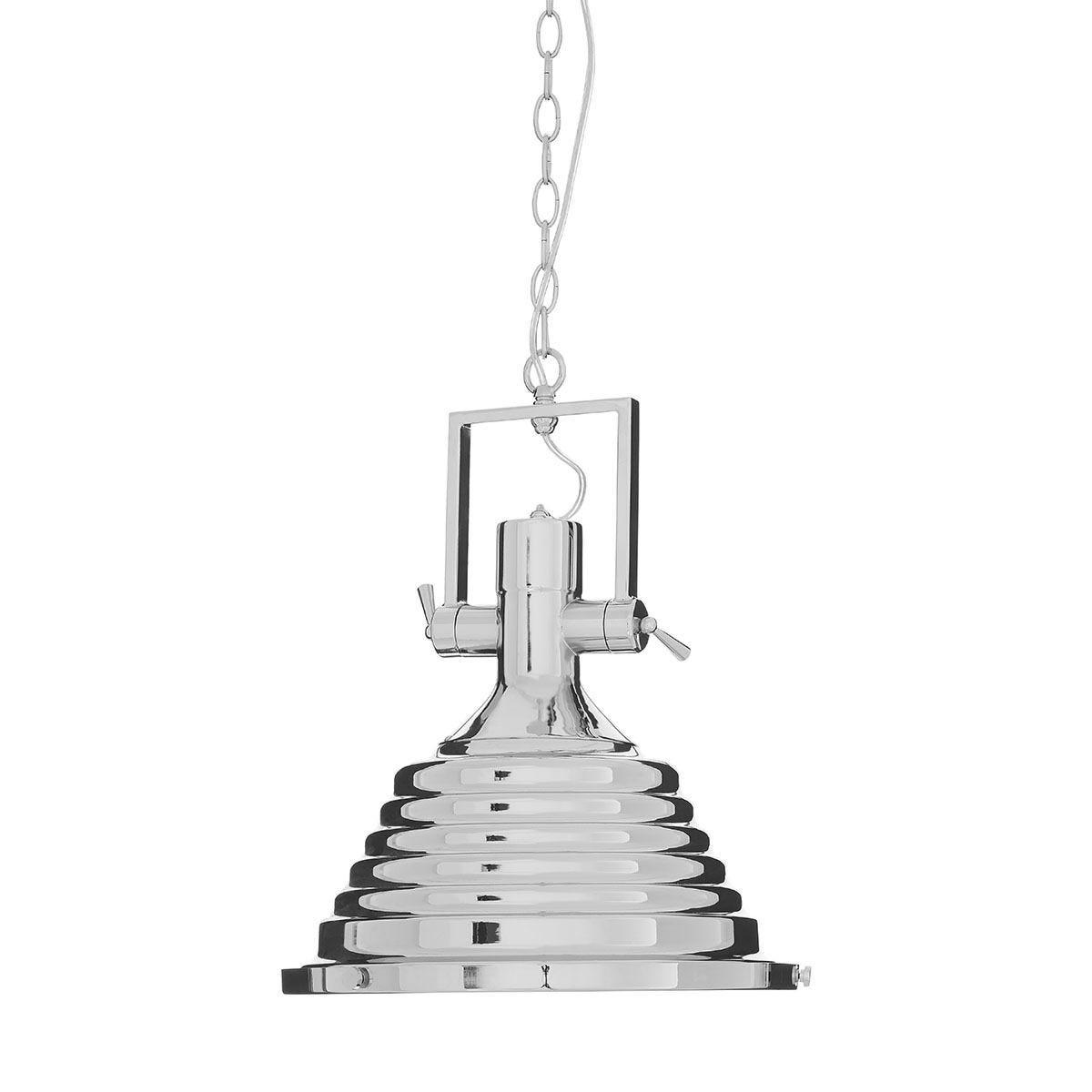 Premier Housewares Lexington Medium Chrome Pendant Light