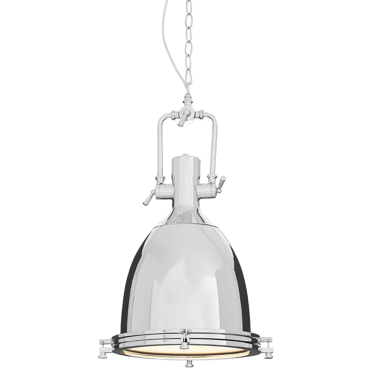 Premier Housewares Lexington Large Chrome Plain Pendant Light