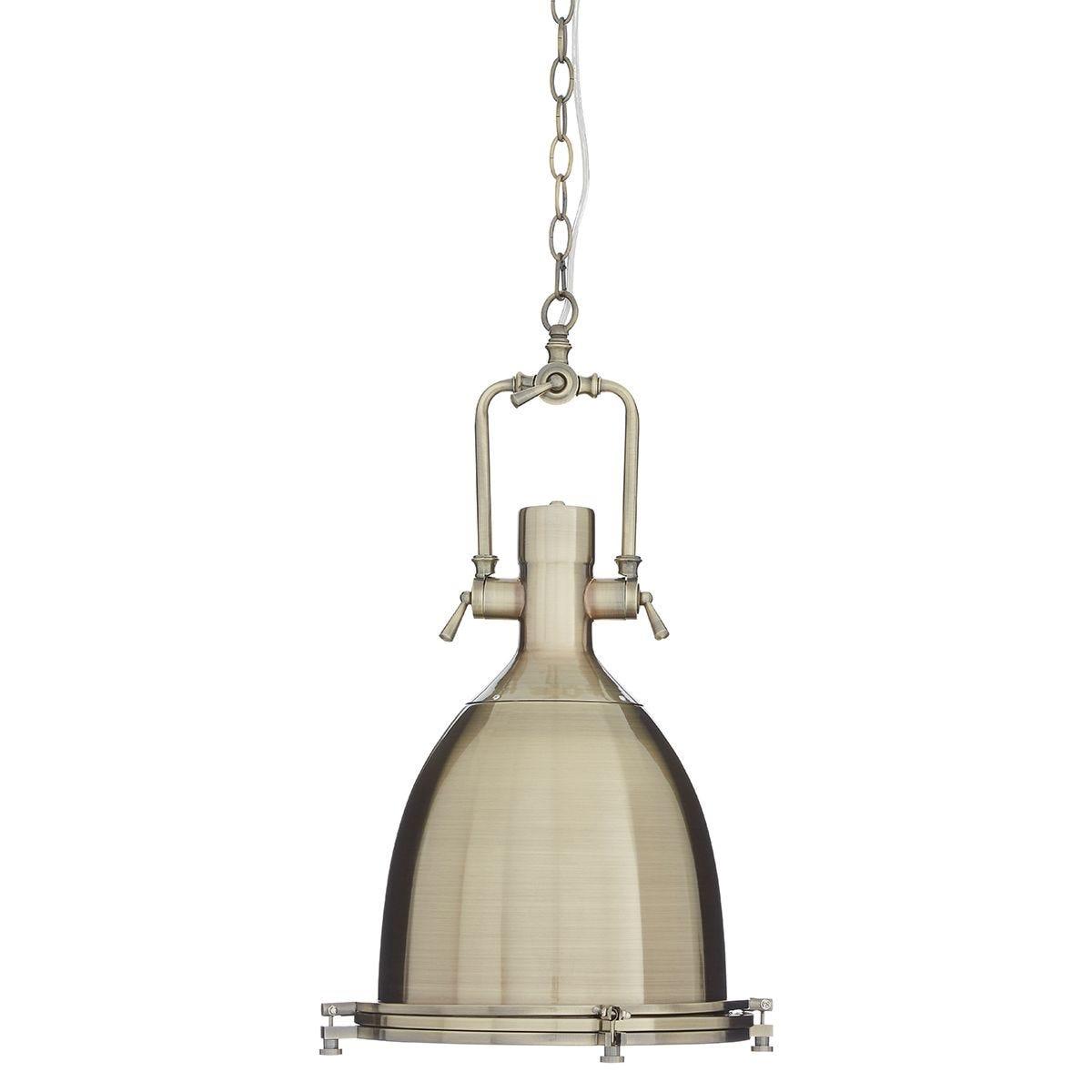 Premier Housewares Lexington Large Antique Brass Plain Pendant Light