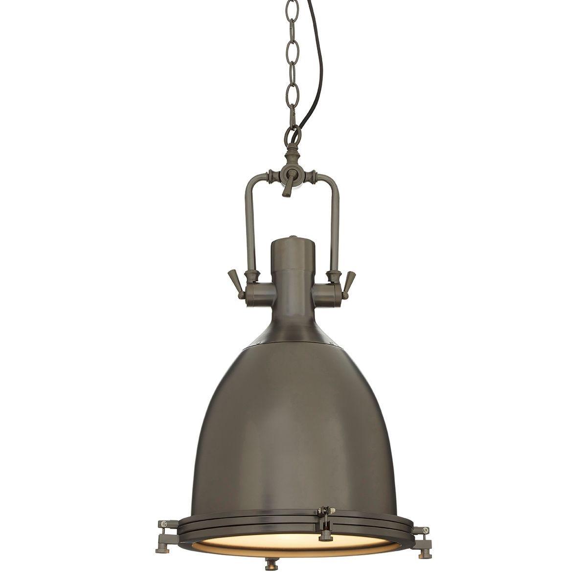 Premier Housewares Lexington Large Gunmetal Plain Pendant Light