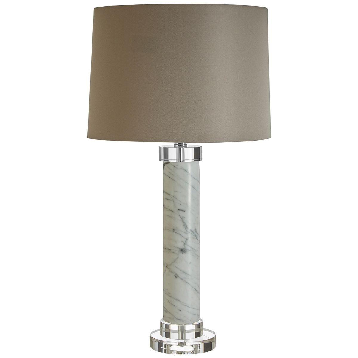 Premier Housewares Ursina Table Lamp with Marble Base & Grey Fabric Shade