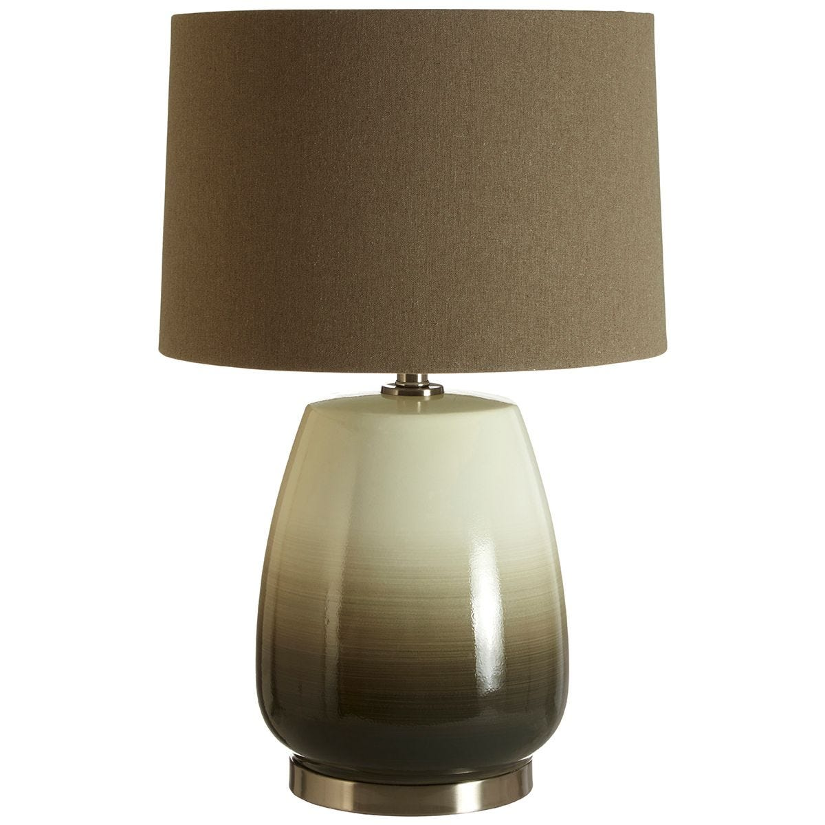 Premier Housewares Unice Table Lamp Green with Grey Linen Shade