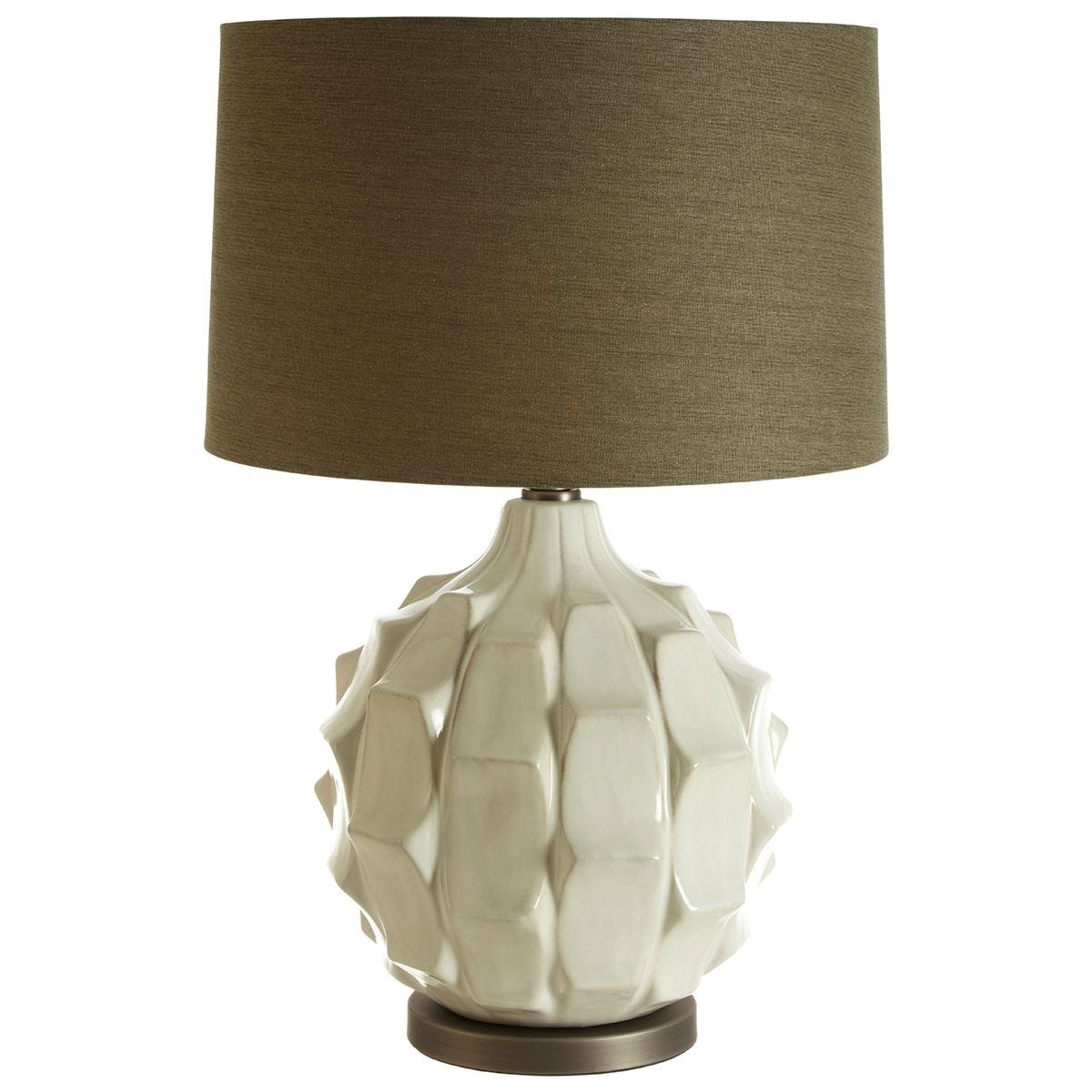 Premier Housewares Usha Table Lamp with Brown/Grey Linen Shade