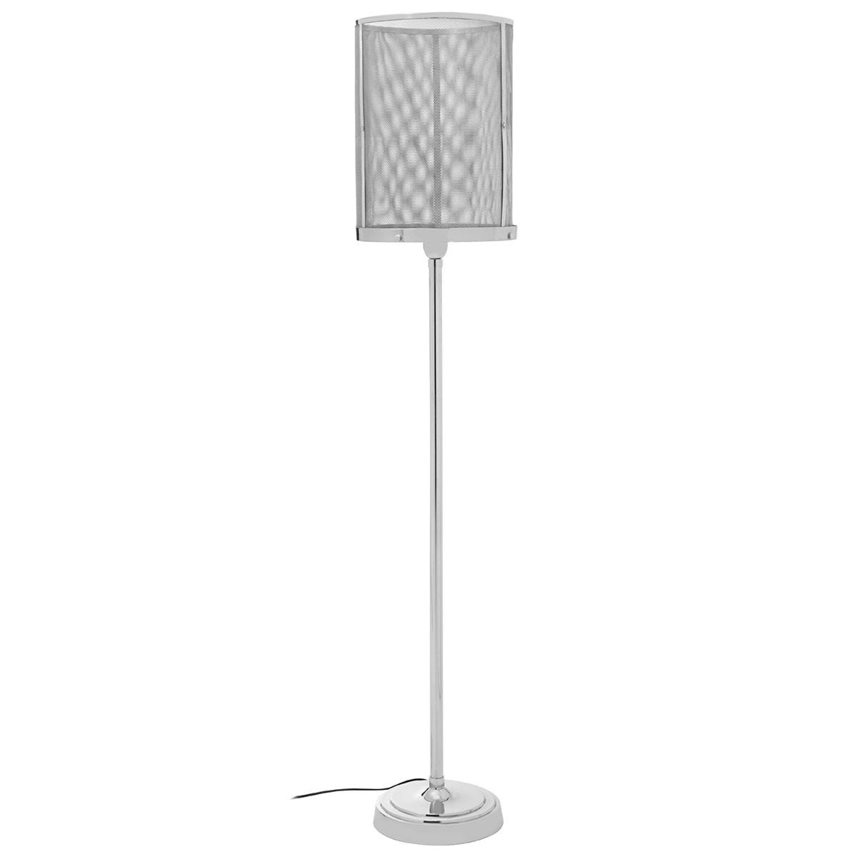 Premier Housewares Myles Floor Lamp with Silver Finish Mesh Shade