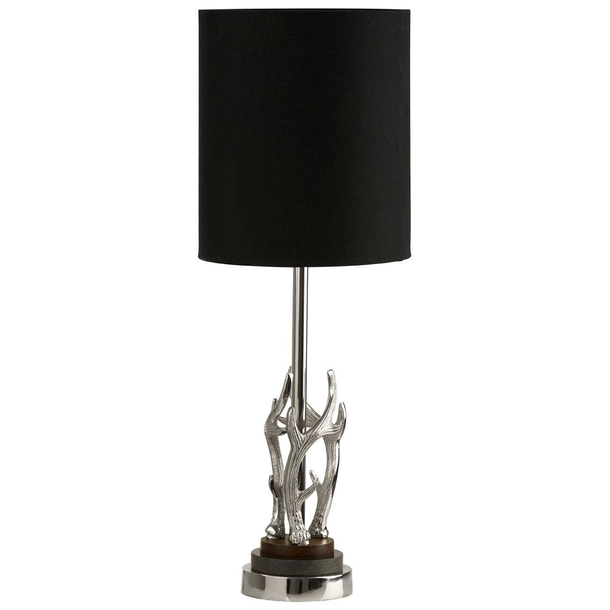 Premier Housewares Antler Table Lamp with Marble Base Aluminium & Black Drum Shade