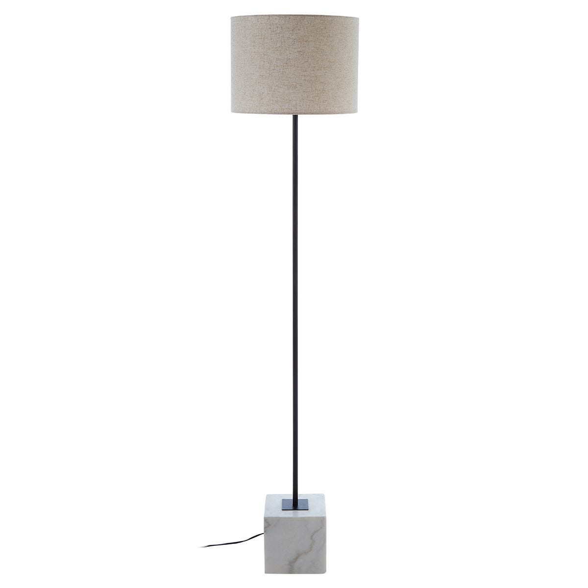 Premier Housewares Murdoch Floor Lamp with Marble Base & Linen Shade
