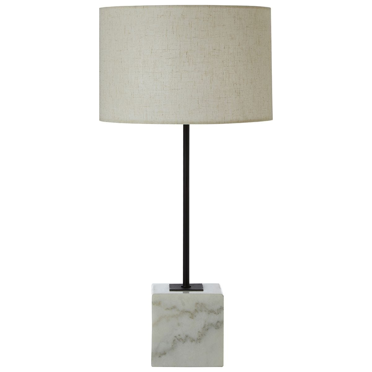 Premier Housewares Murdoch Table Lamp with Marble Base & Linen Shade