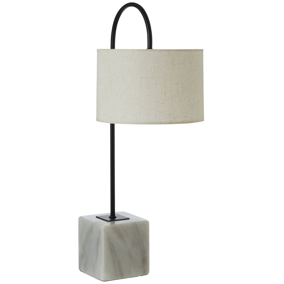 Premier Housewares Murdoch Curve Table Lamp with Marble Base & Linen Shade