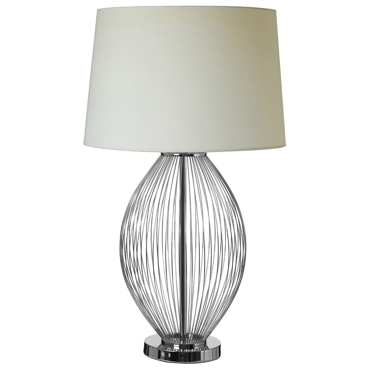 Premier Housewares Lucent Table Lamp with Chrome Base & Linen Shade