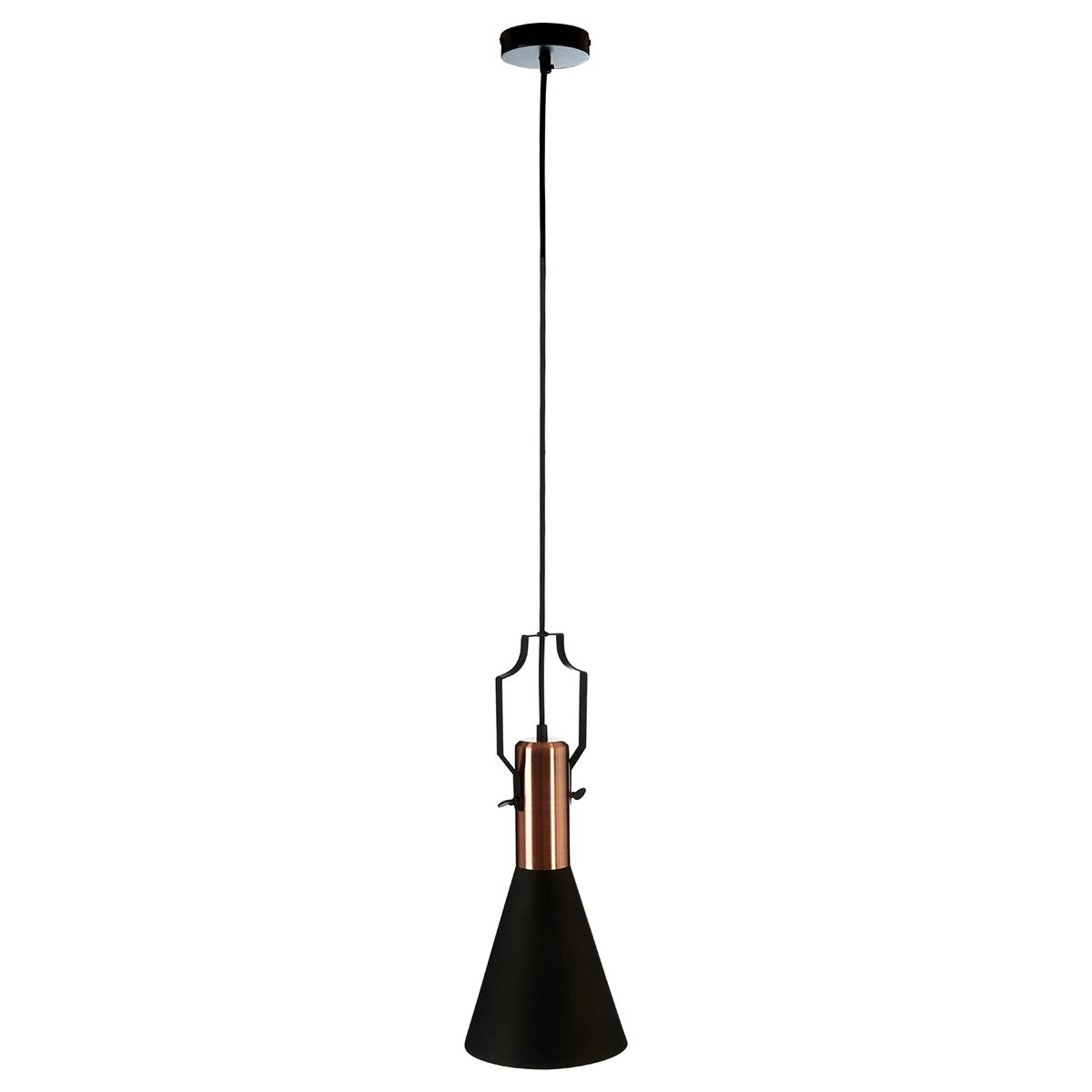 Premier Housewares Argo Small Pendant Lamp in Black/Brushed Copper