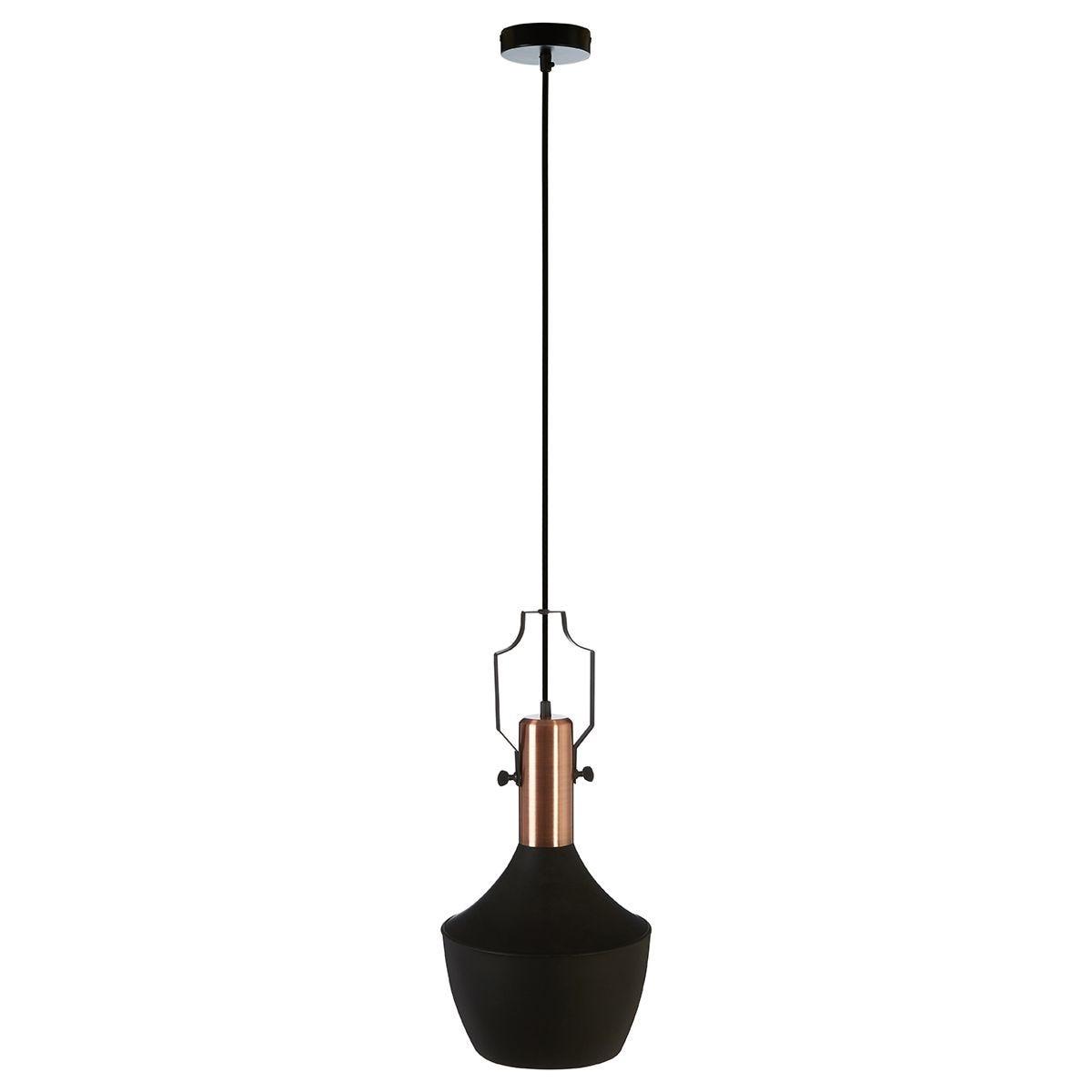 Premier Housewares Argo Medium Pendant Lamp in Black/Brushed Copper