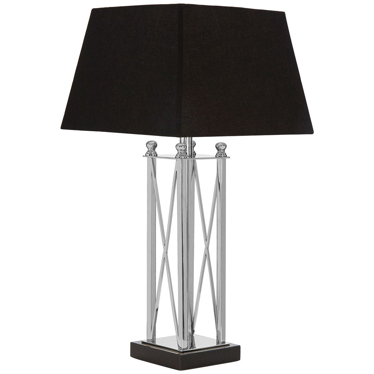 Premier Housewares Hoffmann Table Lamp with Granite Base & Black Fabric Shade