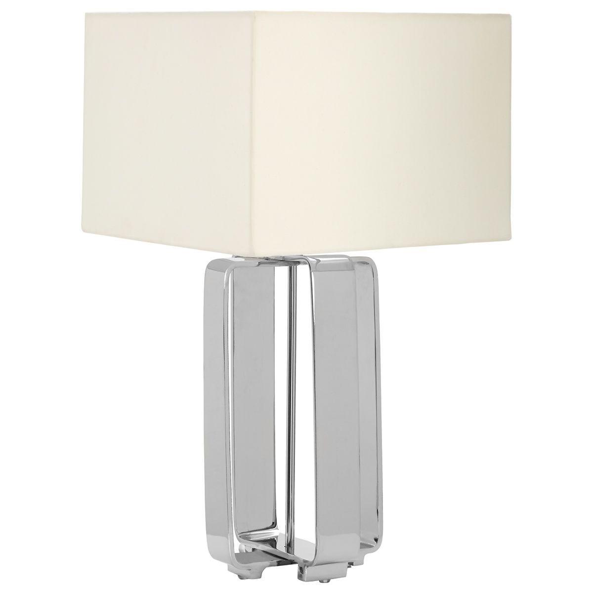 Premier Housewares Argent Table Lamp Aluminium Base Cream Fabric Shade