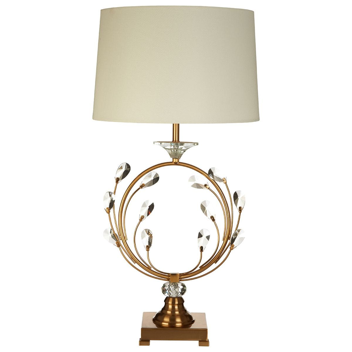 Premier Housewares Zahra Table Lamp in Crystal/Gold Finish with White Linen Shade