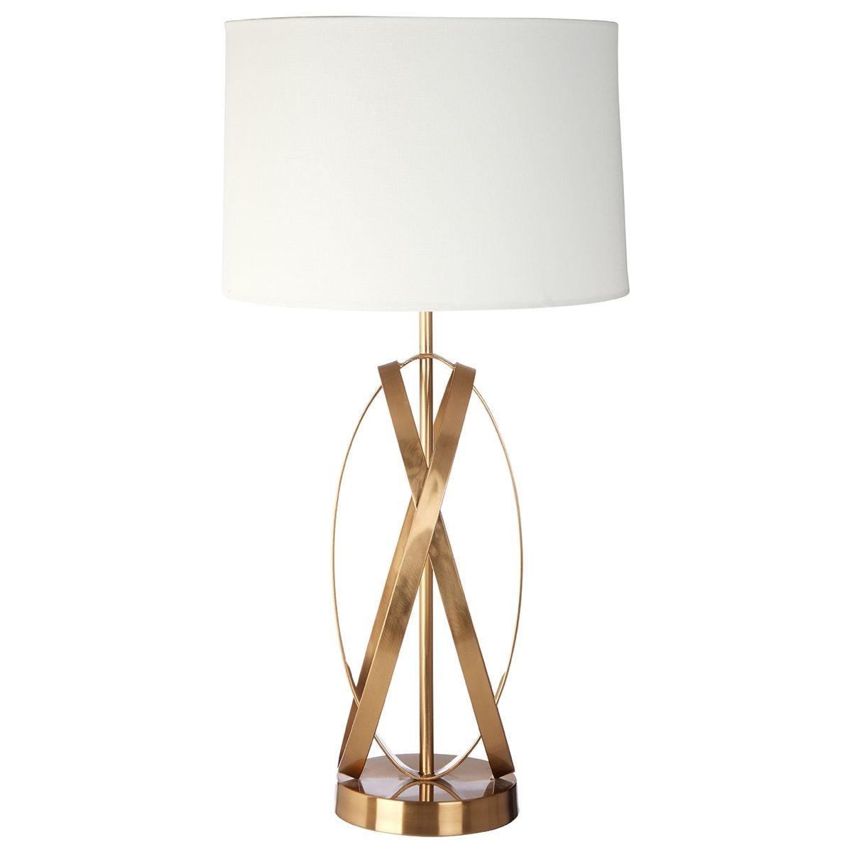 Premier Housewares Zaina Table Lamp in White/Gold Finish & Linen Shade