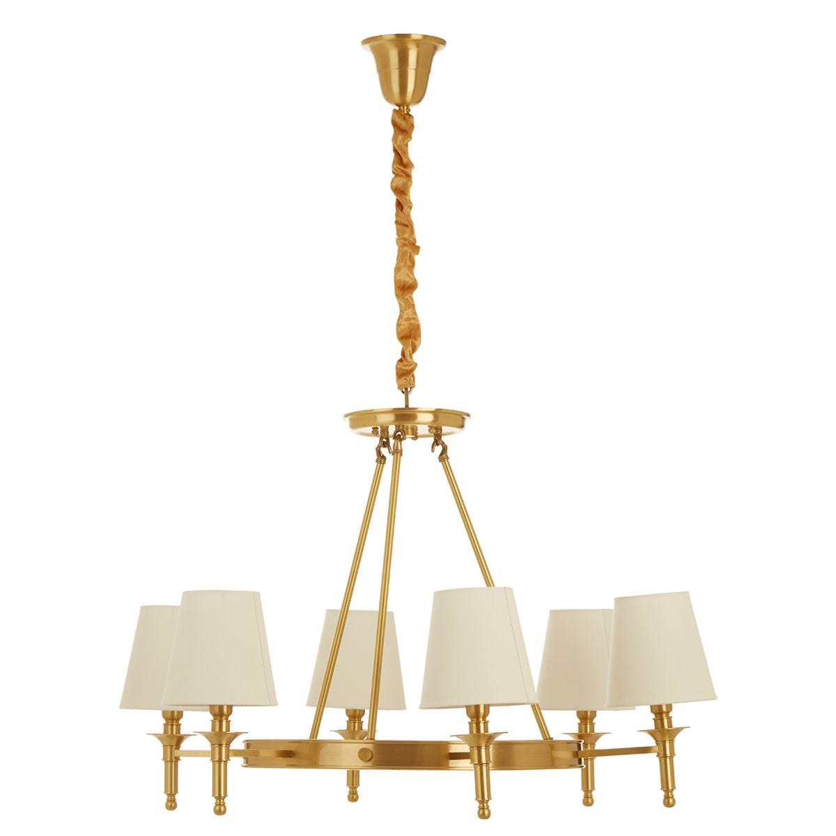 Premier Housewares Zina Ceiling Light in Gold with 6 Linen Shades